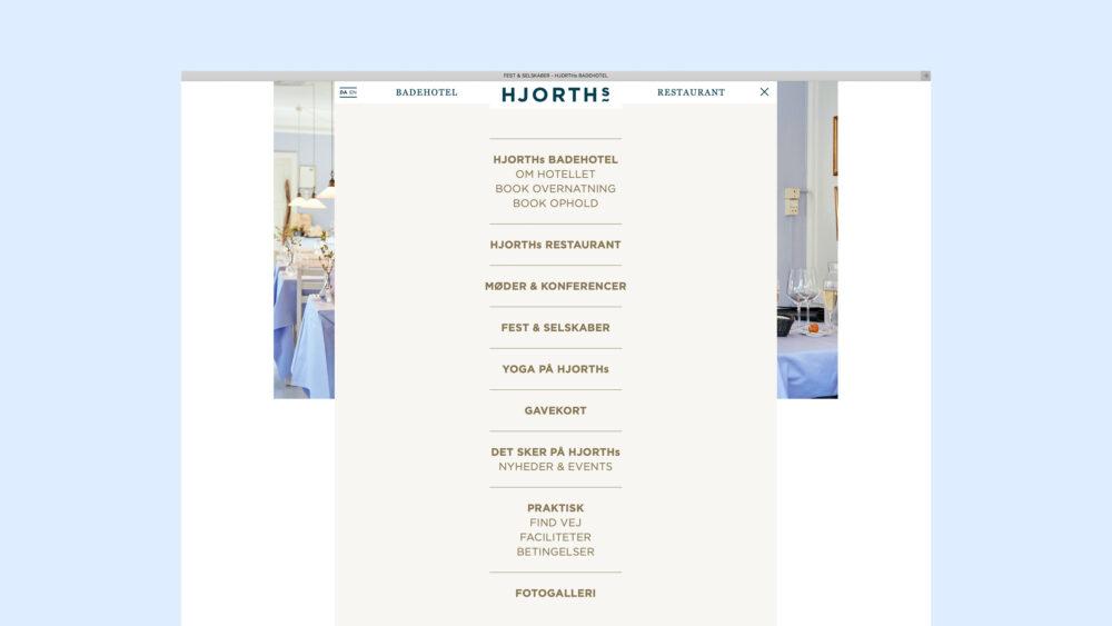 Menu på website for HJORTHs Badehotel