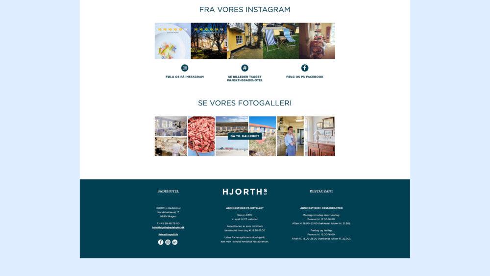 Webdesign for HJORTHs Badehotel