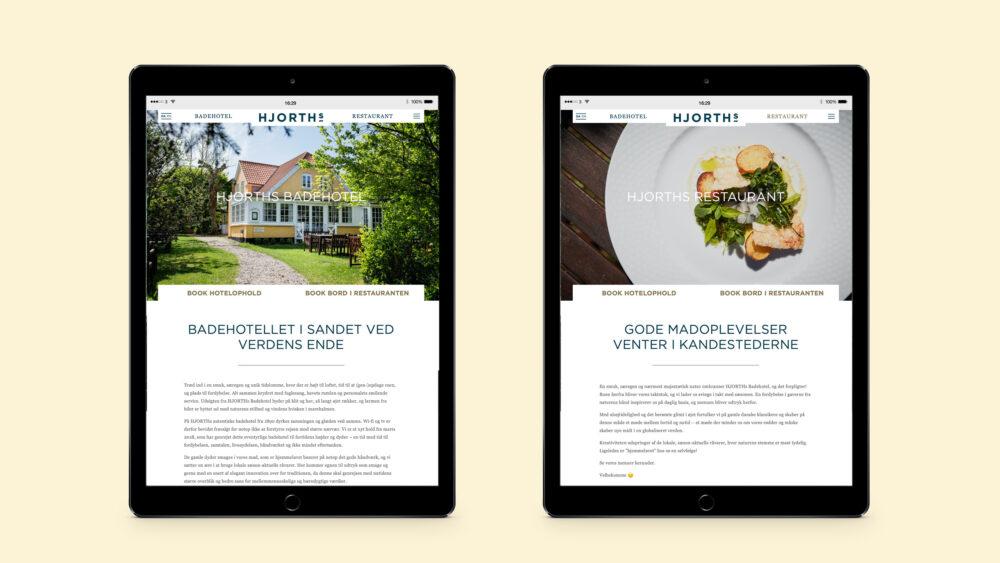 Respontivt webdesign på tablet for HJORTHs Badehotel