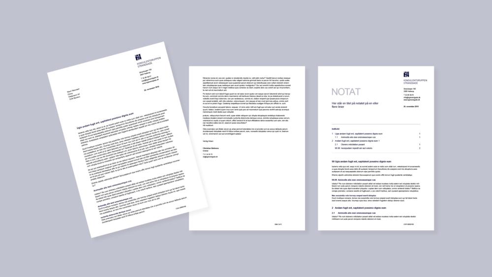 Brev- og notatskabelon som Word-skabeloner for Konsulentgruppen Strandgade