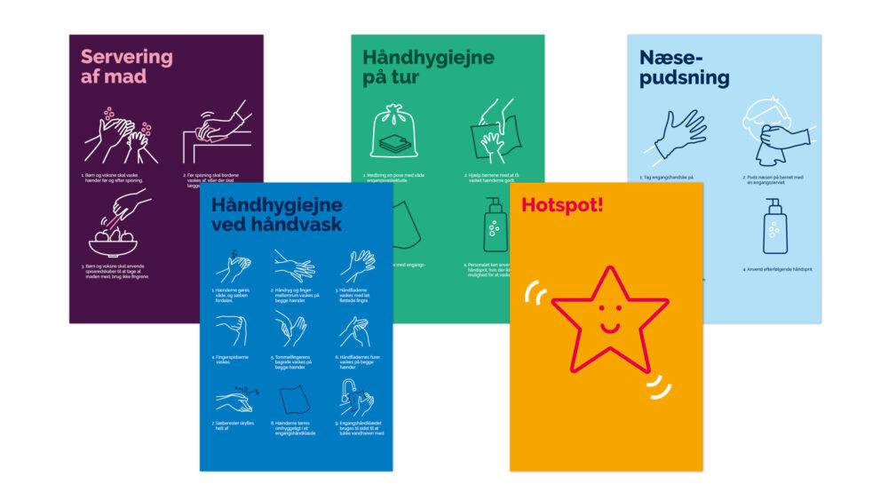 Plakater i forbindelse med hygiejnekampagne for Sundhedsstyrelsen