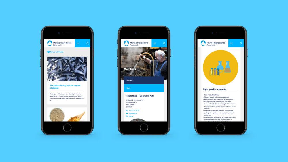 Webdesign på mobil for Marine Ingredients